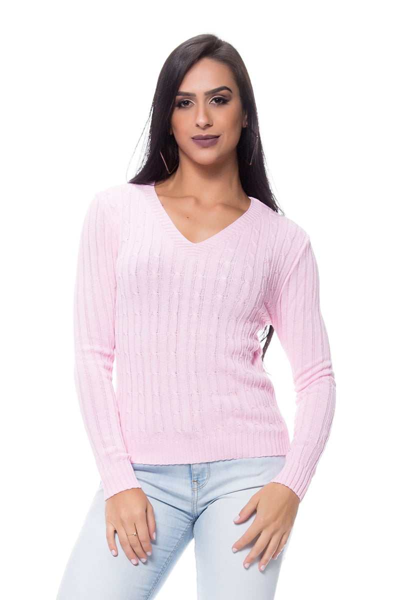 Blusa tricot decote V trança básica