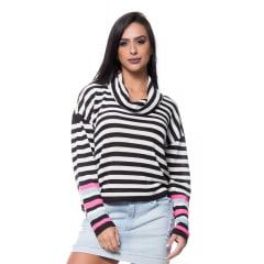 Blusa tricot ampla gola boba