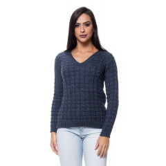 Blusa tricot  básica decote V meia trança