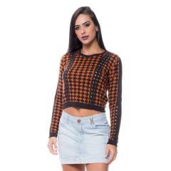 Blusa tricot cropped quadriculado ilhós