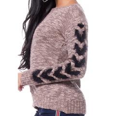 Blusa tricot paraty trança manga vazada