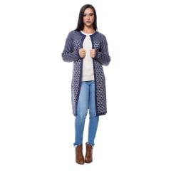 89c0fc5b3706c8 Casaco tricot longo jacquard arrebites - Innovation Tricot